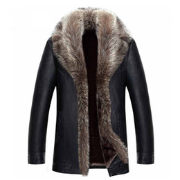 Wholesale men slim fur coat resale online - Mens Winter Coat Fur Inside Leather Jacket Real Raccoon Fur Collar Outwear Overcoat Warm Thickening Tops Plus Size XL XL Hot