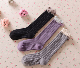 $enCountryForm.capitalKeyWord NZ - Girls ruffle Bows princess socks fashion kids floral pattern knitted knee high sock children cotton breathabler stockings baby legs F0376