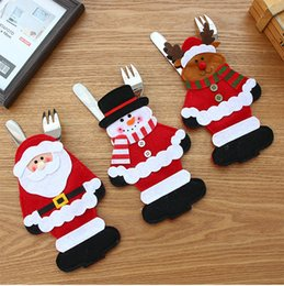 Decoration For Party Tables NZ - New Christmas Decorations for Home Party Table Cutlery Bags Snowman Santa Claus Tableware Holder Pocket Navidad Natal Ornaments