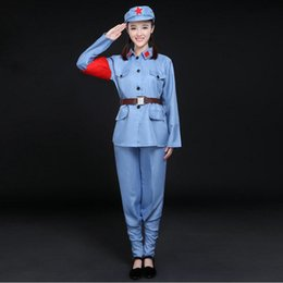 Chinese women uniform online shopping - Military Women Uniforms New Eighth Route Army Stage Performance Red Army wear female Garment Red Guards Anti war Clothing Chinese opera