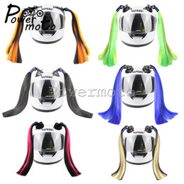 $enCountryForm.capitalKeyWord Australia - Colorful Motorcycle Pigtails Ponytail Hair Stick On Helmet Ponytail Mix Color Helmet Braids Dirt Bike Ski Street Motocross