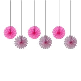 $enCountryForm.capitalKeyWord UK - 6pcs 30cm Pink&Fuchsia Tissue Paper Fans Party Decorations Wedding Bridal Shower Favor Party Gifts Hanging Decorative Flowers