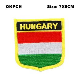 $enCountryForm.capitalKeyWord NZ - Hungary Flag Shield Shape Iron-on Flag Patch Embroidered Saw on Badges Patches for Clothing