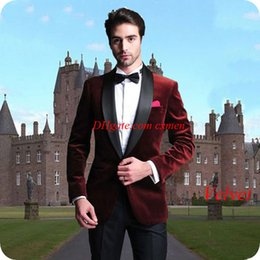 eb9659cb70e Smoking Jacket Burgundy Velvet Men Suits for Wedding Black Shawl Lapel  Custom Made Slim Fit Groom Tuxedos 2Piece Costume Homme Prom Wear