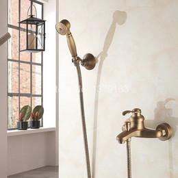 $enCountryForm.capitalKeyWord Australia - Antique Brass Wall Mounted Bathroom Single Handle Bathtub Faucet Tap Hand Held Shower set With Wall bracket &1.5m Hose atf303