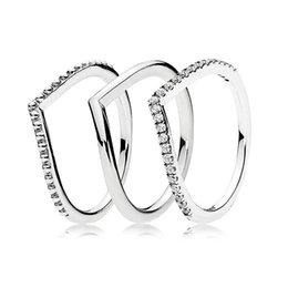 Authentic 925 Sterling Silver Ring Desejo Anel Osso Set Com Cristal Empilhamento Anéis Para As Mulheres Presente Da Festa de Casamento Jóias Europa Fina venda por atacado