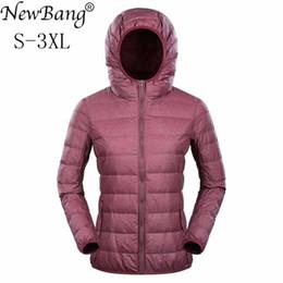 $enCountryForm.capitalKeyWord Canada - NewBang Ultra Light Down Jacket Women Duck Down Jacket Hooded Feather Coat Matt Windproof Thin Warm Light Weight Female Jackets L18100902