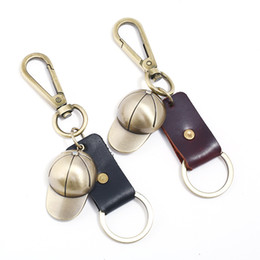 Discount coolest keychains for men - Genuine Leather Key Ring Fob Durable  Multi-ring Bronze d06241113fdd