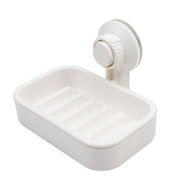 Wholesale White Vacuum Suction Cup Soap Dish Holder Wall Mounted Saver Box Storage Organizer Rack For Shower Bathroom Kitchen