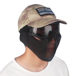 Discount metal mesh half face mask - Tactical Half Face Metal Steel Net Mesh Mask Hunting Protective Guard Mask Cover for Ear protection half-face mesh