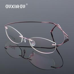 113925a419 Lightweight Rimless Glasses Frame Memory Titanium Alloy Eyeglasses Women  Men oval Myopia Optical Glasses Frames Brand s866