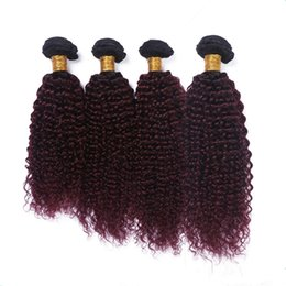 $enCountryForm.capitalKeyWord NZ - Kinky Curly #1B 99J Wine Red Ombre Virgin Brazilian Human Hair Bundles Double Wefts 4Pcs Black and Burgundy Ombre Human Hair Extensions