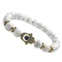 $enCountryForm.capitalKeyWord NZ - 20PCS White Pine Stone Bracelet Gold Color Hand of Fatima Hamsa Hand Bracelet of Mala Evil Eye AmuletFor Women Men 8MM Bead Bracelet
