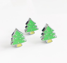 Plated Dog Collar Australia - 10pcs 8MM Enamel Green Christmas Xmas Tree Slide Charms Fit 8mm Pet Dog Collar Name Belts Bracelets