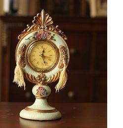 Estilo europeu relógios de mesa relógio do vintage moda criativa decoração de casa antigo fazer velho relevo de resina desktop rosa relógio relógio de mesa venda por atacado