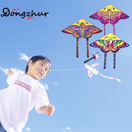 Kite Toys NZ - 10 Pcs Mix Wholesale 90*55cm Nylon Rainbow Butterfly Outdoor Foldable Children's Stunt Kite Surf Without Line Random Color Kids Gifts
