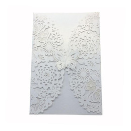 Laser cut birthday cards online shopping - Vertical Laser Cut Butterfly Invitations Cards Kits for Wedding Bridal Shower Birthday White