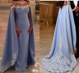 Saudi Style Dress NZ - Arabic Style Evening Dresses 2018 With Wrap Cape Sheer Neck Sweep Train Appliques Lace Beaded Long Formal Party Evening Gowns Saudi Arabian