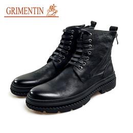 Grimentin Shoes UK - GRIMENTIN Hot sale brand men boots 100% genuine leather black men ankle boots fashion dress mens formal shoes JM