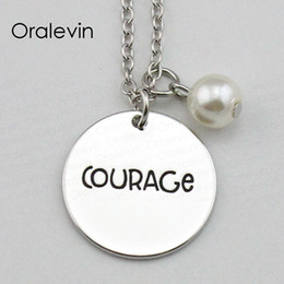 courage pendant NZ - Newest Fashion COURAGE Inspirational Hand Stamped Engraved Custom Pendant Necklace for Women Gift Metal Stamped Jewelry,10Pcs Lot, #LN1876