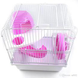 Двойные слои хомячка клетки легко установить удобный пластиковый дом морских свинок здоровый образ жизни милый красочный фирма прочный 21jy ДД на Распродаже