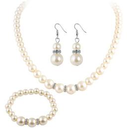 902c13e0b09 Fashion Fine Accessories Jewelry Set Bride wedding Pearls Bead Ball  Rhinestones Dangle Earrings Chokers Necklaces Charm Bracelets For Women