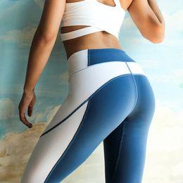 Yoga Pants L Canada - NATURE Splice double color high waist yoga pants gym woman sportswear leggins sport women fitness sport leggings