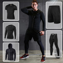 gym jogging suit men Canada - Wholesale-EU Sport Suit Men Jogging Running Sets Compression Running Tracksuit Basketball Training Fitness Suits Sport Suit Mens Gym Sets