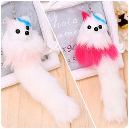 Wholesale Simulation Rabbit Fur Pompon Keychain Candy Color Animal Fox Key Chain Silver Plated Bag Hanger Car Hanging Pendant Doll Women