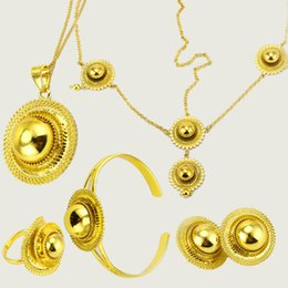 $enCountryForm.capitalKeyWord NZ - JHplated Ethiopian Jewelry Set Gold Color Hair Pice Pendant Chain Earing Ring Bracelet Eritrea Africa Habesha Wedding Gift