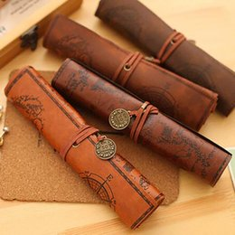 Cases rolling penCils online shopping - Antique Nautical Treasure Map Stationery Gift Fashion Roll Pencil Case Big Capacity Pencil Bag Soft Leather Pen Boxes Free DHL