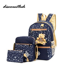 Composite Bearings UK - Fashion Composite Bag Preppy Style Backpacks For Teenage Girls High Quality Canvas School Bags Cute Bear 3 Set Backpack Female