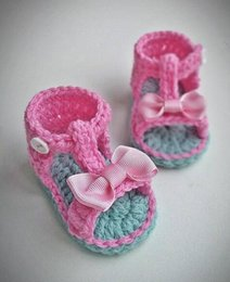 Baby Sandal Crochet Wholesale Australia - Handband Baby Sandals, Crochet Baby Shoes, kids girl sandals, saummer shoes, pink bow, birthday, newborn gift 5pairs 10pcs