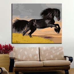 floral wall art canvas black NZ - Framed DIY Painting By Numbers Kits Coloring Handpainted Black Horse Oil Pictures On Canvas Unique Gift For Living Room Wall Art