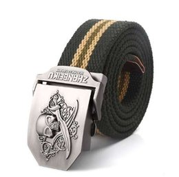 Green Plastic Army Men Canada - SupSindy canvas belt Pirate Skull Alloy buckle military men belt Army tactical belts for Men best quality Male strap Army green