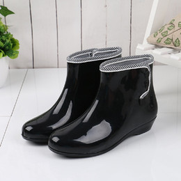 neoprene rubber NZ - Rain boots women waterproof rain shoes buttons rubber boots with plush for winter slip on women ankle 8e10