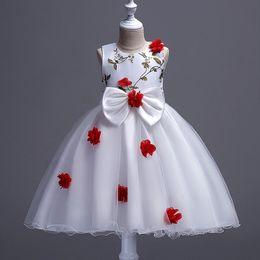 d459adfe1013 New Appliques Flower Girl Dresses O-neck Princess Ball Grown Big Bow  Sleeveless Girls Dress
