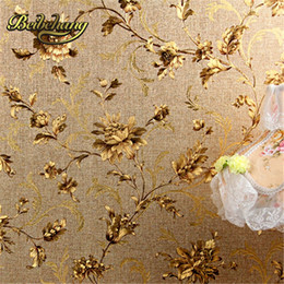 Discount embossed foil paper - beibehang Modern Chinese classical gold foil wallpaper flower golden background hotel restaurant entrance living room wa