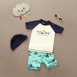Discount swim shorts kids - Two Pieces Boys Swimsuit Short Sleeves Beach Wear Bathing Suits Children Swimming Suit Little Kids Swim Rash Guard Quick