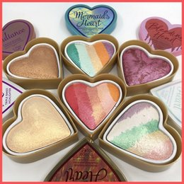 Rainbow coloR palette eyeshadow online shopping - Factory Direct DHL Free Makup Face Goddess of love Bleeding Mermaid s Dragon Heart Highlighters Rainbow Blush Triple Baked Eyeshadow