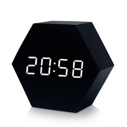 Modern Wooden Lights NZ - Creative LED wooden hexagonal clock, intelligent voice-activated alarm clock for bedroom office home desk-- White light