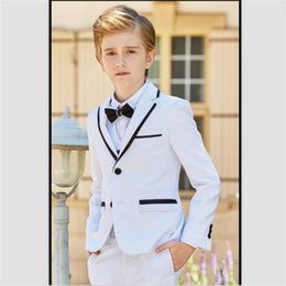 white suit photos NZ - 2018 Handsome White Boy's Formal Suits British Style Boys Wedding Tuxedos Suits Custom Made Children Party Prom Pants Vests