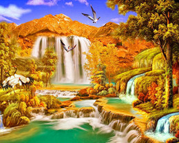 waterfall decorations NZ - Art crafts Needlework 5d Diy Diamond Painting Autumn scenery waterfall Full drill Diamond embroidery Home decoration Mosaic