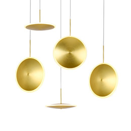 pendant lamp kids NZ - Nordic post modern LED pendant lamp gold aluminum with acrylic lampshade hanging lamp round plate kids room foyer bedroom lighting fixture