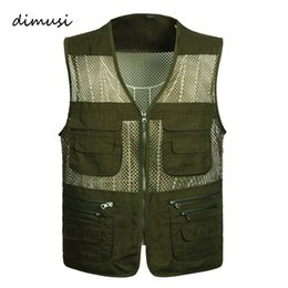 Chinese  DIMUSI Summer Men Vest Male Multi-Pocket Waistcoat Outwear Casual Tactical Vests Mens BreathableSleeveless Jacket 4XL manufacturers