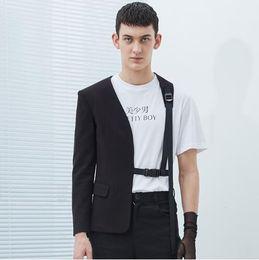 Großhandel S-5XL HEIßER Frühling neue männliche Kleidung Sänger DJ GD Persönlichkeit Mode Friseur Hälfte binden Anzug Korean plus Größe Männer Jacke Bühnenkostüme