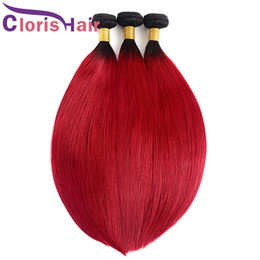 Discount dark red black hair color Dark Roots 1B Red Silky Straight Ombre Weave Bundles Peruvian Virgin Human Hair Extensions Cheap Two Tone Black Red Ombr
