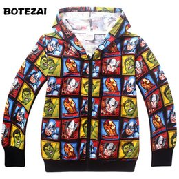 Discount avengers clothes kids - 2017 New Super Hero Boys Hoodies Avengers Sweatshirts Kids Cartoon Hooded Jacket Children's Outwear Baby Clothing