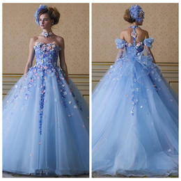 Quinceanera dresses color fuchsia online shopping - 2018 Ice Blue Color Flowers Appliques Prom Gowns Detachable Straps Tulle A Line Princess Custom Garden Quinceanera Dress Vestidos De Soiree
