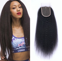 $enCountryForm.capitalKeyWord NZ - Natural Colour 4x4 Lace Top Closure Kinky Straight Indian Virgin Hair Middle Free 3 Part Cheap Lace Closure